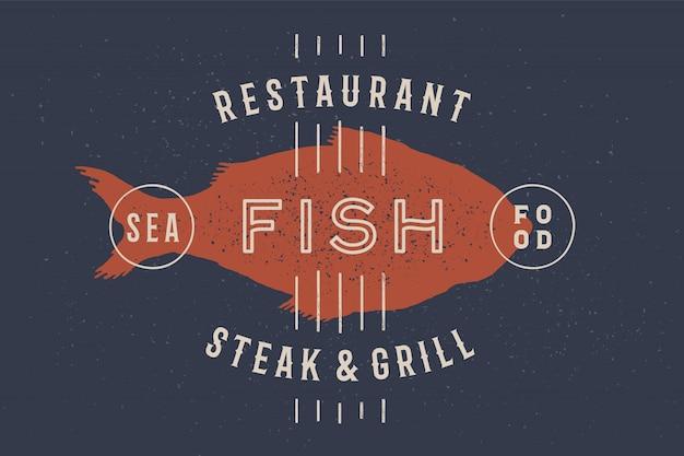 Peixe, frutos do mar. logotipo vintage
