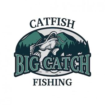 Peixe-gato grande captura logotipo de pesca