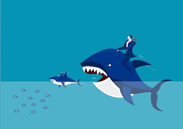 - peixe grande com cifrão comendo muitos pequenos.