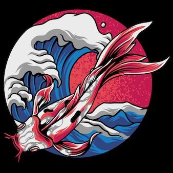 Peixe koi chinês com oceano