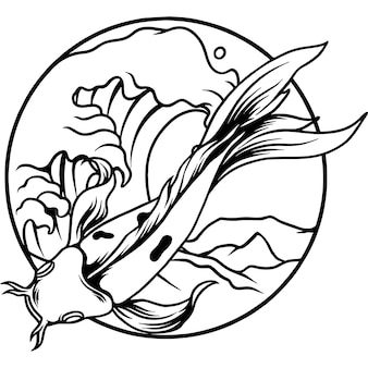 Peixe koi chinês com silhueta do oceano