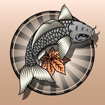 Peixe koi com folha de bordo.