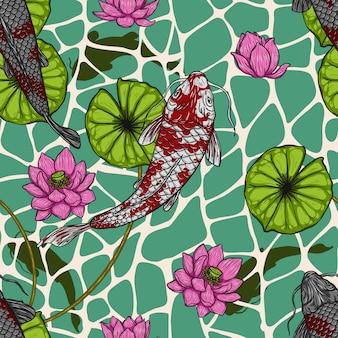 Peixe koi com padrão de lótus sem costura à mão de desenho