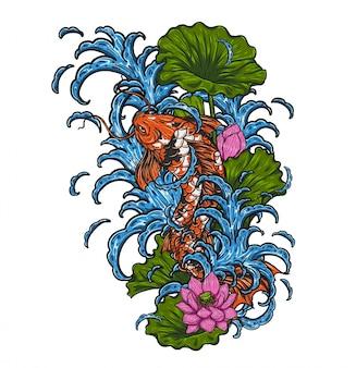 Peixe koi com vetor de lótus por desenho de mão