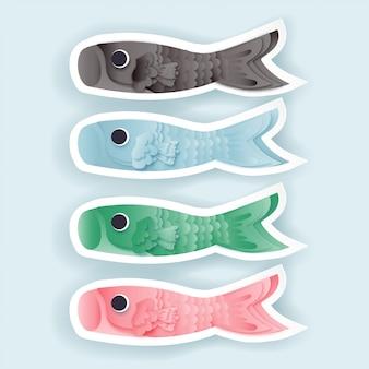 Peixe koinobori em papel cortado ilustração vetorial