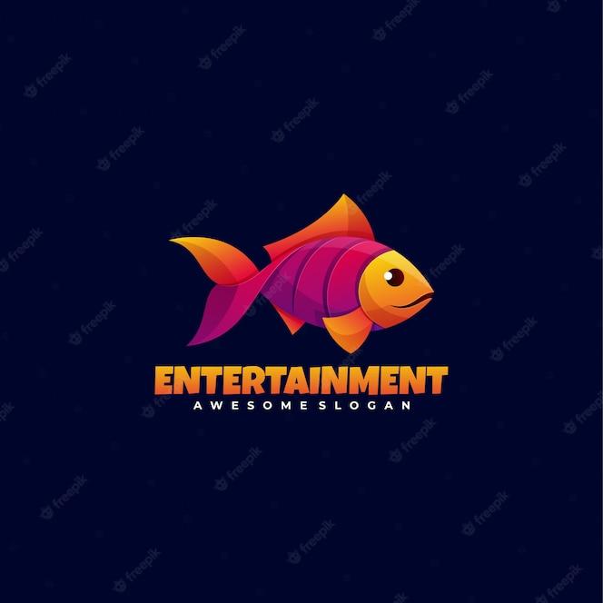 Peixe logotipo estilo colorido gradiente.