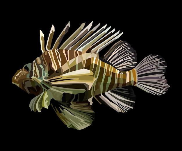 Peixe marinho pop art retrato premium vetor isolado decoração design de cartaz