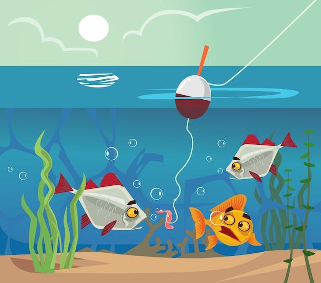 Peixe no fundo, olhando para o anzol de minhoca. conceito de lago do mar de água de pesca. desenho vetorial plano
