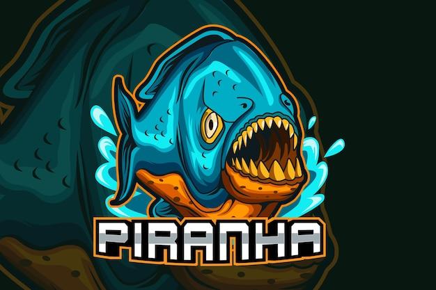 Peixe piranha esport e logotipo do mascote do esporte em um conceito moderno de ilustração para impressão de crachá, emblema e sede