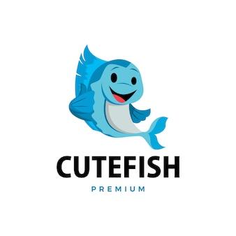 Peixe polegar para cima mascote personagem logotipo icon ilustração