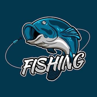 Peixe pulando de isca para evento de torneio de pesca e design de logotipo de crachá de clube de pescadores