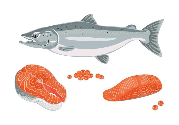 Peixe salmão, bife, filetes e caviar vermelho.