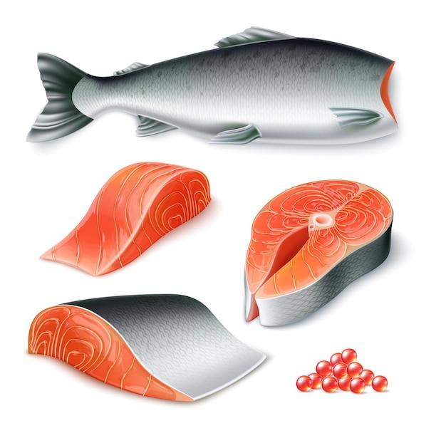 Peixe salmão cru realista de vetor definido com filé de peixe inteiro descascado e caviar para o menu do restaurante
