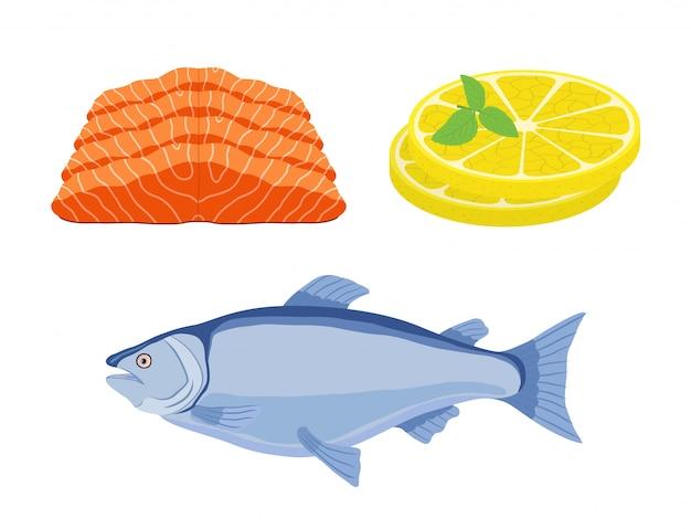 Peixe salmão, fatias de limão - refeição gourmet