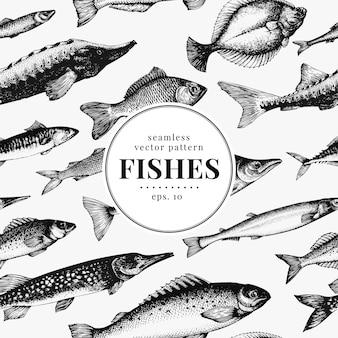 Peixe sem costura vetor padrão.