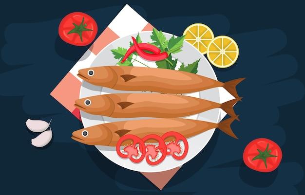 Peixe vegetais comida delicioso menu saboroso na mesa ilustração