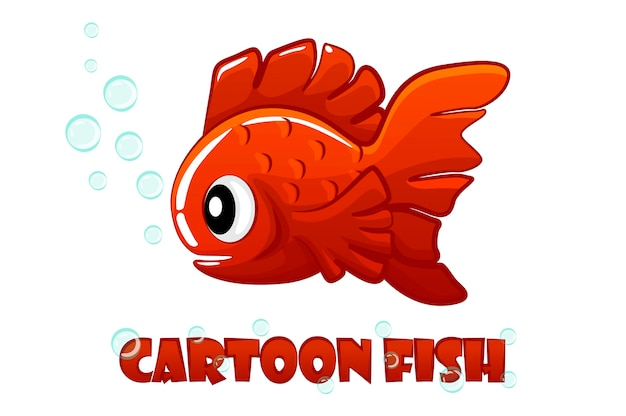 Peixe vermelho dos desenhos animados nada em um aquário.