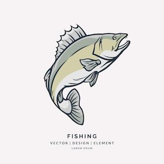 Peixe zander pulando fora do emblema da silhueta em preto e branco de água no fundo