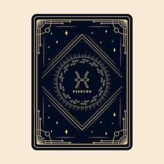 Peixes assina horóscopo com estrelas da constelação, cartão decorativo do zodíaco com moldura decorativa