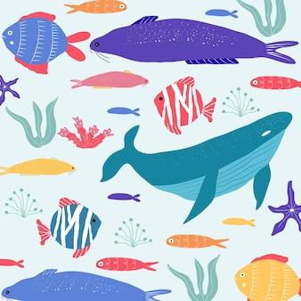 Peixes de criaturas subaquáticas, medusas, polvos, peixes-palhaço, plantas marinhas e corais, com animais marinhos para tecido, tecido, papel de parede, decoração de berçário, estampas, fundo infantil. vetor