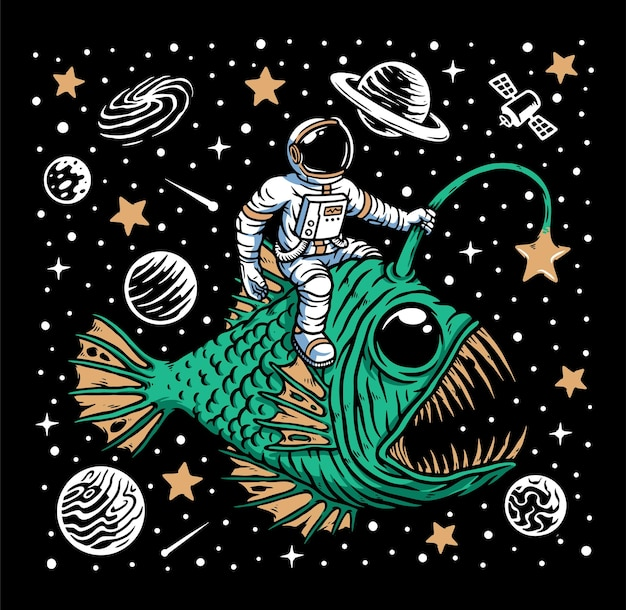 Peixes do fundo do mar e astronauta