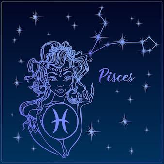 Peixes do sinal do zodíaco como uma menina bonita. a constelação de peixes.