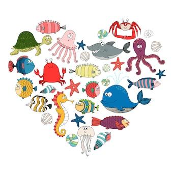 Peixes e animais marinhos em forma de coração,