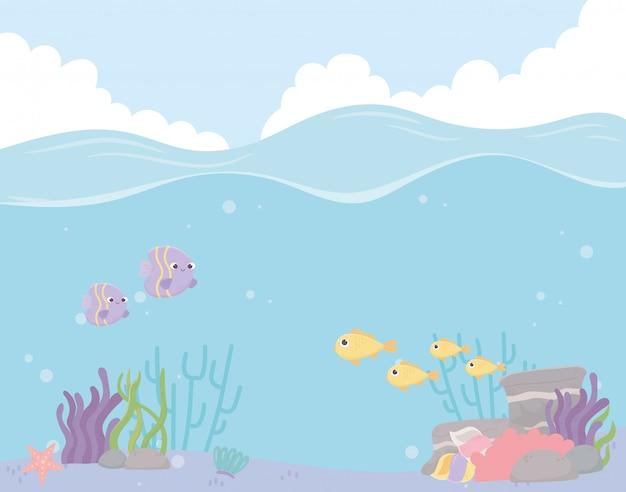 Peixes estrela do mar recifes de corais paisagem água sob a ilustração vetorial de mar