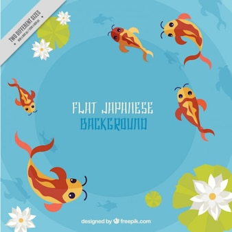 Peixes japoneses no fundo da água