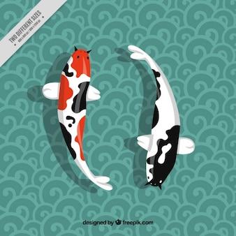 Peixes japoneses no fundo decorativo