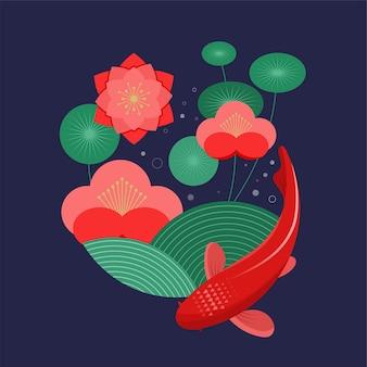Peixes koi, carpa vermelha e flores.