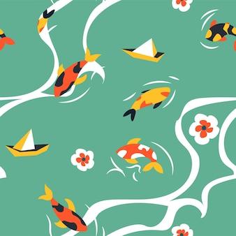Peixes koi japoneses nadando em um padrão de lagoa ou lago