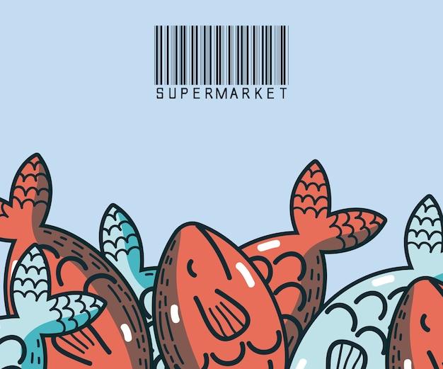 Peixes marisco comida super produtos do mercado