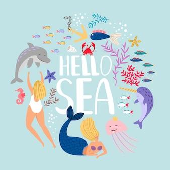 Peixes, plantas e animais marinhos com texto