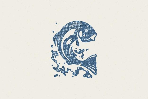 Peixes pulando da silhueta de água para o clube de pesca ou efeito de carimbo desenhado à mão do mercado de frutos do mar