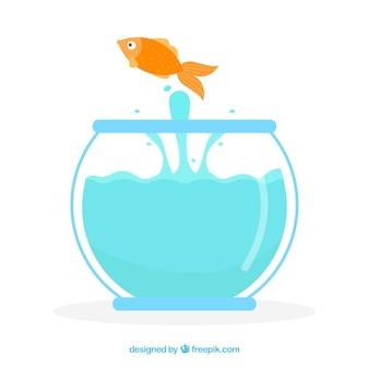 Peixinho pulando de aquário em estilo simples