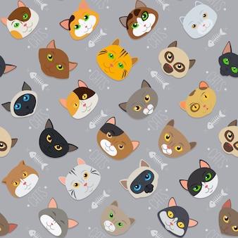 Pele bonito diferente cor gatos padrão de fundo vector