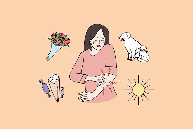 Pele com coceira na pele de mulher doente sofre de alergia