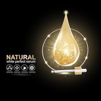 Pele reparadora de vetores de gota de ouro ou colágeno para produtos para a pele