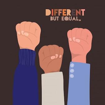 Peles diferentes, mas iguais e com diversidade, punhos levantados, pessoas, raça multiétnica e tema comunitário