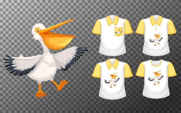 Pelicano branco em pé com muitos tipos de camisas