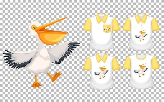 Pelicano marrom em posição de pé personagem de desenho animado com muitos tipos de camisas