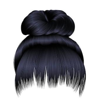 Pêlos do coque com franjas morenas pretas cores escuras. colours.bun cabelos com franjas morenas pretas cores escuras.