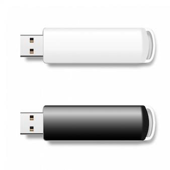 Pen drives usb, discos flash em preto e branco