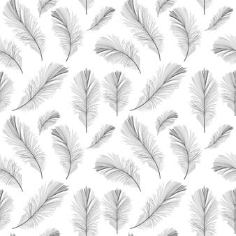 Pena de pássaro mão desenhada sem costura padrão fundo ilustração vetorial. eps10