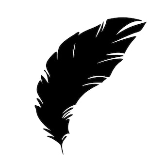 Pena de pássaros silhueta de penas pretas para conjunto de vetor de logotipo