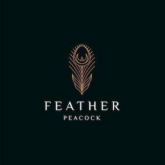 Pena de pavão elegante cor ouro logotipo ícone design modelo ilustração vetorial plana