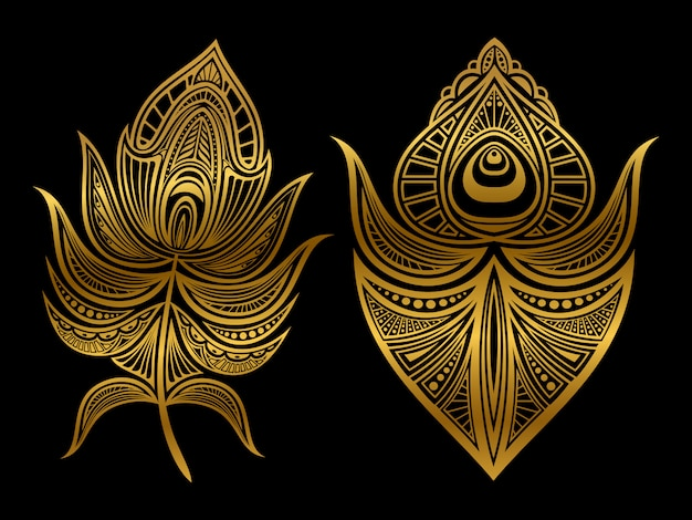 Penas abstratas douradas isoladas
