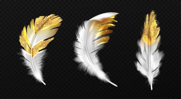 Penas brancas com glitter dourado nas bordas