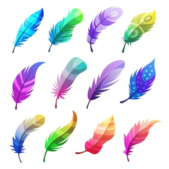 Penas coloridas. conjunto de ornamentos tribais decorativos estilizados em penas de pássaros. decoração estilizada de penas tribais, doodle decorativo em asa